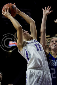 Peyton Williams, freshman forward, goes up for the basket  during the K-State game against Tulsa in Bramlage Coliseum on Nov. 14, 2016. (Sabrina Cline | The Collegian)