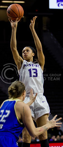 Eternati Willock, freshman forward, shoots the ball during the K-State game against Tulsa in Bramlage Coliseum on Nov. 11, 2016. (Sabrina Cline | The Collegian)
