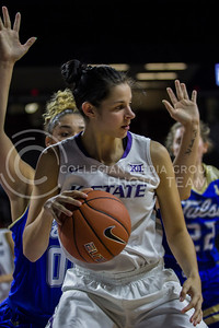 Jessica Sheble, senior forward, dribbles the ball as she posts up during the K-State game against Tulsa in Bramlage Coliseum on Nov. 11, 2016. (Sabrina Cline | The Collegian)