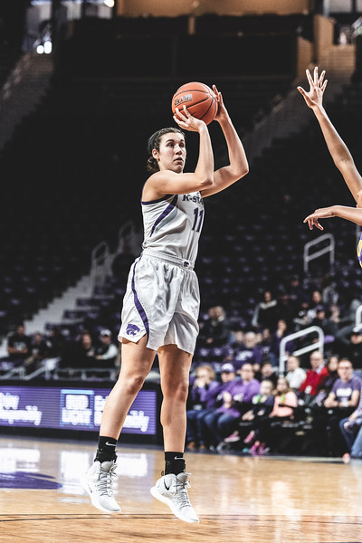With the Northern Iowa defense far away, K-State forward Peyton Williams takes an opportunity to score for the Wildcats during the game on December 29, 2018. K-State beat the University of Northern Iowa 72-62 in Bramlage Coliseum. (Alex Todd | Collegian Media Group)