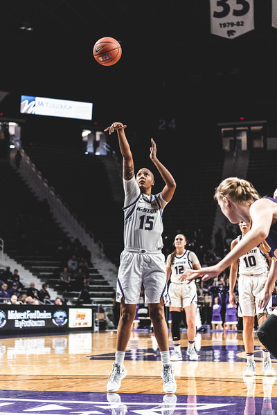 After getting fouled, K-State's Kali Jones shoots and scores one point for the cats during the game against the University of Northern Iowa in Bramlage Coliseum on December 29, 2018. K-State won 72-62. (Alex Todd | Collegian Media Group)