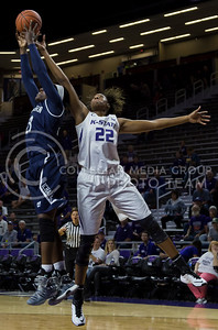Breanna Lewis, senior center, rebounds a shot from the basket during the K-State game against Washburn in Bramlage Coliseum on Nov. 4, 2016. (Nathan Jones | The Collegian)