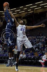 Breanna Lewis, senior center, rebounds a shot from the basket during the K-State game against Washburn in Bramlage Coliseum on Nov. 4, 2016. (Nathan Jones | The Collegian)