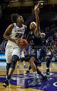 Breanna Lewis, senior center, prepares to make a shot on the basket during the K-State game against Washburn in Bramlage Coliseum on Nov. 4, 2016. (Nathan Jones | The Collegian)