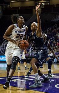 Breanna Lewis, senior center, prepares to make a shot on the basket during the K-State game against Washburn in Bramlage Coliseum on Nov. 4, 2016. (Nathan Jones | The Collegian)