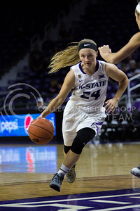 Kindred Wesemann, senior guard, dribbles down the court during the K-State game against Washburn in Bramlage Coliseum on Nov. 4, 2016. (Sabrina Cline | The Collegian)