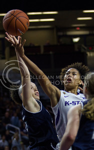 Mercedes Brooks, freshman guard, goes up for the basket after a break away during the K-State game against Washburn in Bramlage Coliseum on Nov. 4, 2016. (Sabrina Cline | The Collegian)