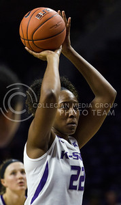 Breanna Lewis, senior center, attempts a free throw during the K-State game against Washburn in Bramlage Coliseum on Nov. 4, 2016. (Sabrina Cline | The Collegian)