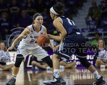 Kindred Wesemann, senior guard, defends the basket during the K-State game against Washburn in Bramlage Coliseum on Nov. 4, 2016. (Sabrina Cline | The Collegian)