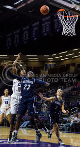 Breanna Lewis, senior center, makes a shot on the basket during the K-State game against Washburn in Bramlage Coliseum on Nov. 4, 2016. (Nathan Jones | The Collegian)