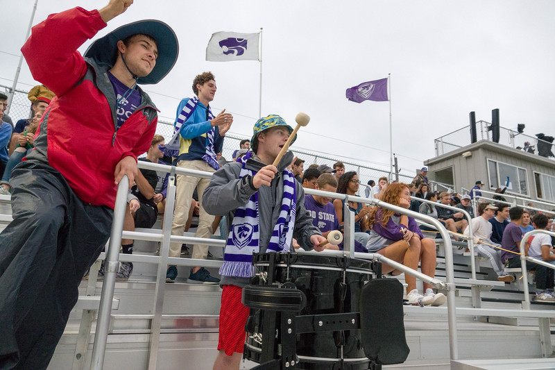 The Cats Den cheers on the womens soccer team during Friday night's game against UMKC. K-State would go on to lose the game 3-2. (Alex Masson | Collegian Media Group)