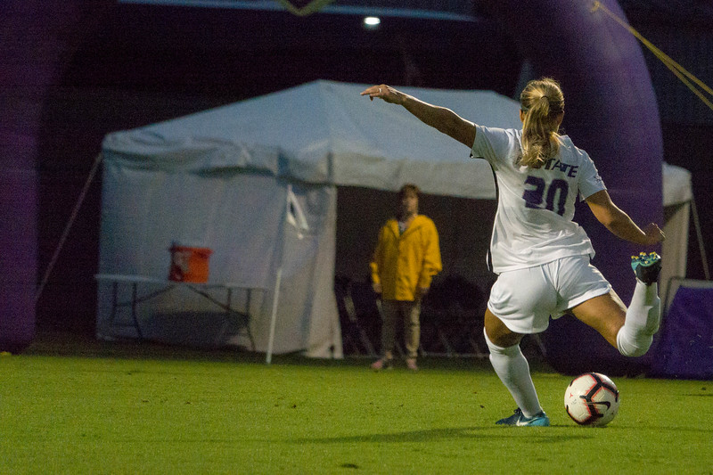Junior forward Katie Cramer shoots on goal during Friday night's game against UMKC. K-State would go on to lose the game 3-2. (Alex Masson | Collegian Media Group)