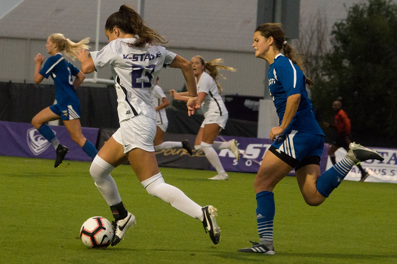 Junior midfielder Laramie Hall charges down the field during Friday night's game against UMKC. K-State would go on to lose the game 3-2. (Alex Masson | Collegian Media Group)