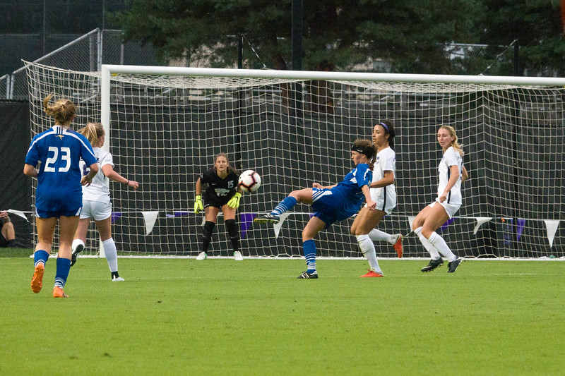 Sophomore goalkeeper Emma Malsy gets ready to block a shot on goal during Friday night's game against UMKC. K-State would go on to lose the game 3-2. (Alex Masson | Collegian Media Group)