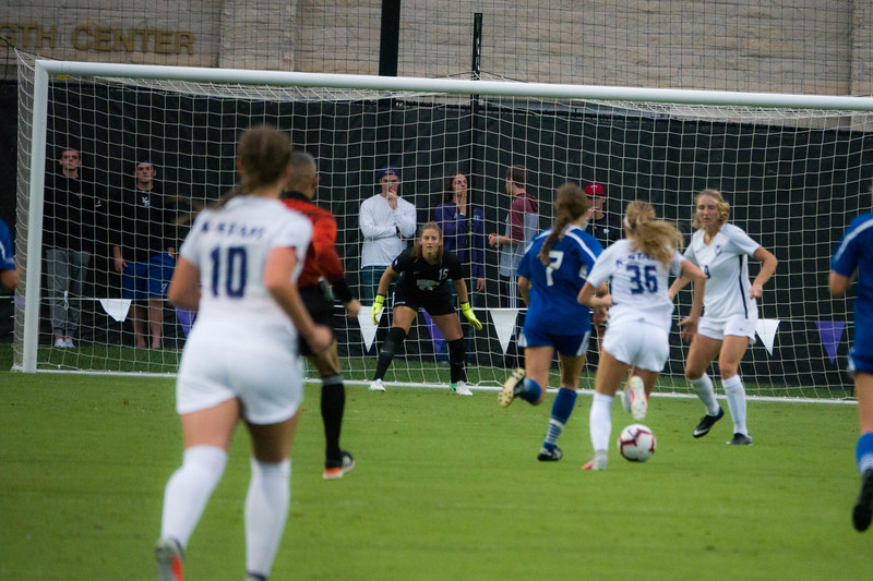 Sophomore goalkeeper Emma Malsy prepares to defend the goal during Friday night's game against UMKC. K-State would go on to lose the game 3-2. (Alex Masson | Collegian Media Group)