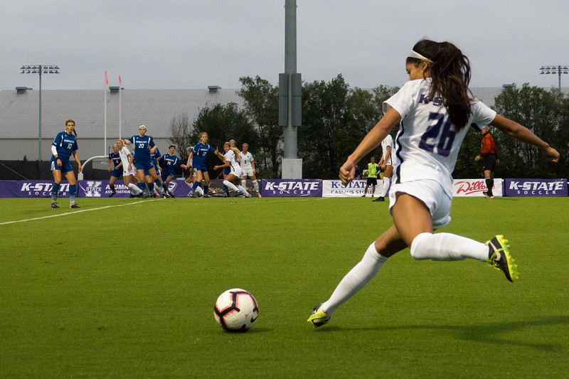 Redshirt sophomore defender Aly Rocha kicks a penalty shot during Friday night's game against UMKC. K-State would go on to lose the game 3-2. (Alex Masson | Collegian Media Group)