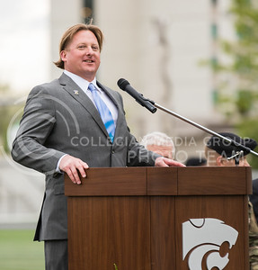 Jed Dunham speaks at the World War I Memorial Stadium Dedication Ceremony on April 21, 2017. (John Benfer | The Collegian)