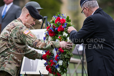 A wreath is placed during the World War I Memorial Stadium Dedication Ceremony on April 21, 2017. (John Benfer | The Collegian)