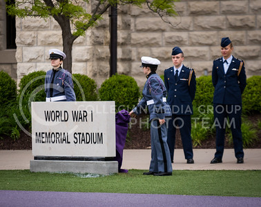 The sign is unveiled at the World War I Memorial Stadium Dedication Ceremony on April 21, 2017. (John Benfer | The Collegian)