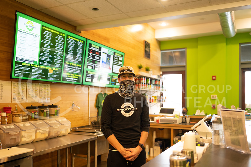 Joe Stegman, co-owner of the new locally owned ZL Smoothie, located at 1101 Moro St, Manhattan, KS 66502. September 10, 2020. (Dylan Connell | Collegian Media Group)