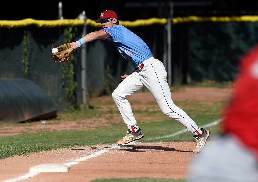 . Boulder Collegians third baseman Dawson Pomeroy stops a foul ball during a game against the Laramie Colts on Friday at Scott Carpenter Park in Boulder. More photos: BoCoPreps.com Jeremy Papasso/ Staff Photographer 06/22/2018