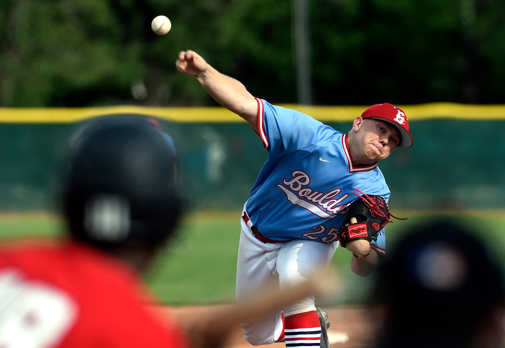 . Boulder Collegians pitcher Race Gardner throws a strike during a game against the Laramie Colts on Friday at Scott Carpenter Park in Boulder. More photos: BoCoPreps.com Jeremy Papasso/ Staff Photographer 06/22/2018