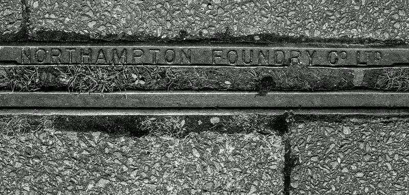 Northampton Foundry cast iron pavement drainage channel, Manfield  Road, Northampton