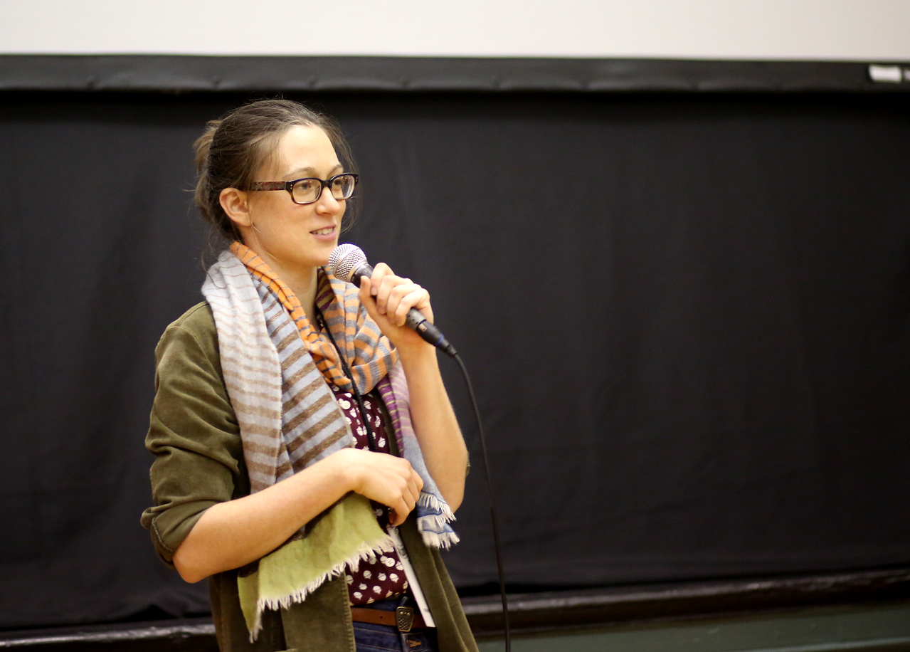 Sarah Nolen, director of Treeples, speaks at the Collinsville Film Festival. <br /> Photo by John Fitts
