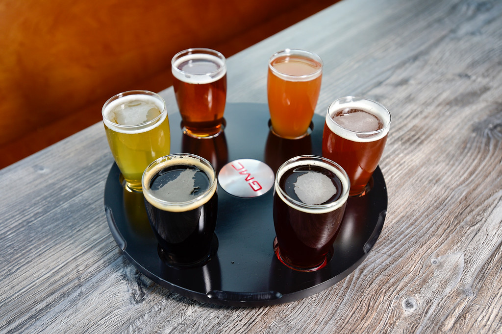 . LONGMONT, CO - JANUARY 30:A beer wheel (flight) at Collision Brewing Company and restaurant in Longmont on Jan. 30, 2019. (Photo by Matthew Jonas/Staff Photographer)