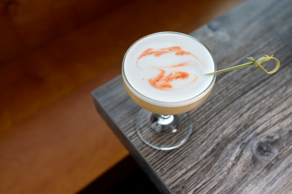. LONGMONT, CO - JANUARY 30:Vapor Lock with Milagro Reposado Tequila, house made sour, egg white, Kaffir lime, Angostura Bitters at Collision Brewing Company and restaurant in Longmont on Jan. 30, 2019. (Photo by Matthew Jonas/Staff Photographer)