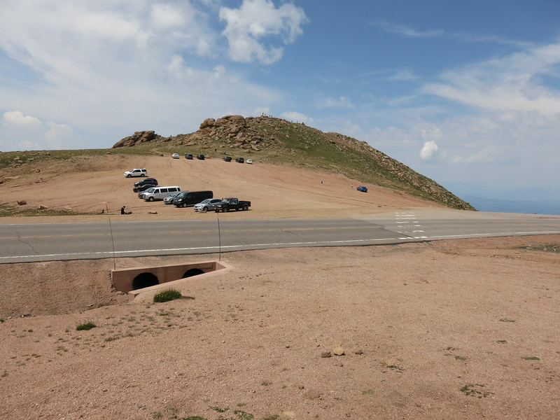 View of the rocky slope of Devils Playground from across the Pikes Peak Rd.