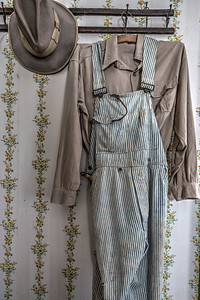 Overalls and Hat in Thomas House, Coloma