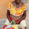 Woman sells fruit salad, Cartagena, Colombia
