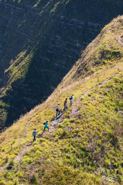 Hikers walk along Paso del Angel (Angel Pass), Santa Sofía, Colombia.