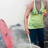 Woman cooks sancocho over an open fire, Mompox (Mompós), Colombia.
