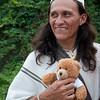 Aruaco man with teddy bear, Tayrona National Natural Park, Colombia.