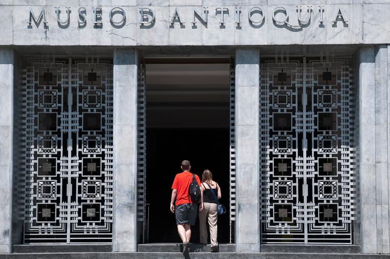 Art deco entranceway of Museo de Antioquia, Medellin, Colombia