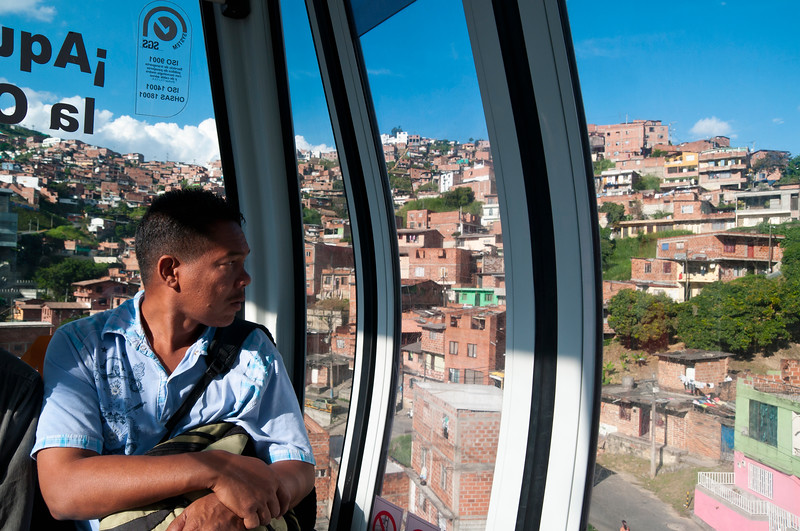 Metrocable car reaches neighborhoods in the hills, Medellin, Colombia