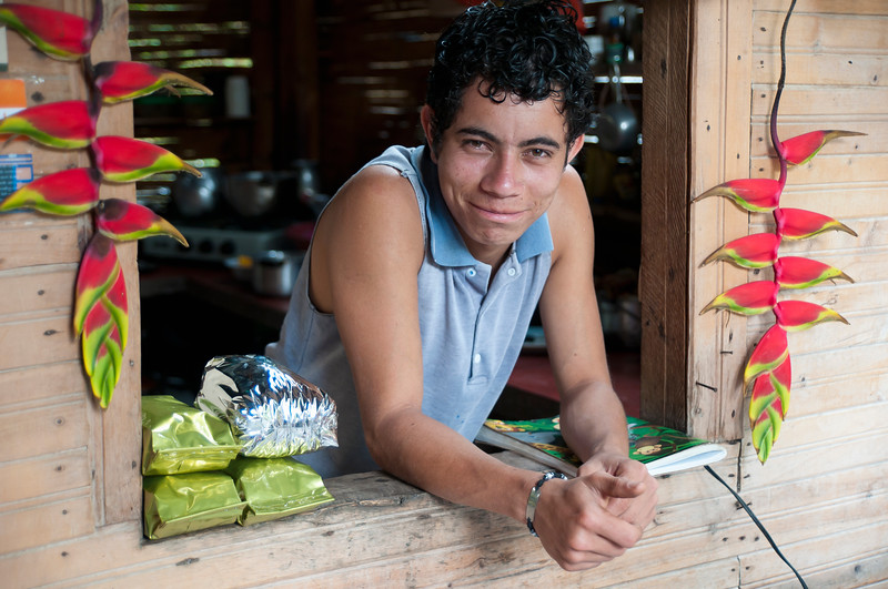 Tour guide at Finca Las Brisas Don Elías, coffee farm near Salento, Colombia
