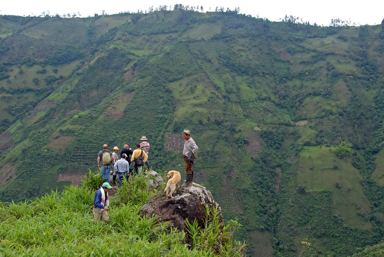 Coffee fields can be seen planted on the steep slopes.  Erosion and loss of topsoil is a huge problem in Colombia.
