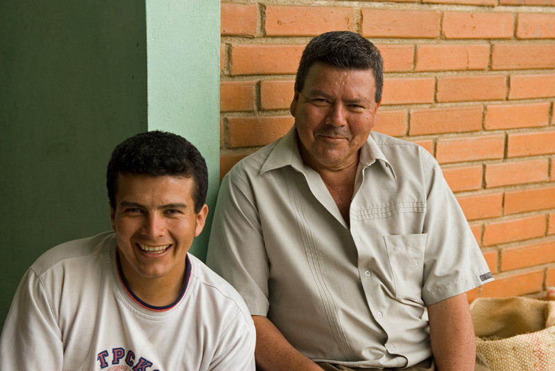 We next visited La Samaria of Segundo Bados whose very sweet coffee Terroir was roasting in the winter of 2008-2009 .  Here we see Segundo Sr. and Jr..