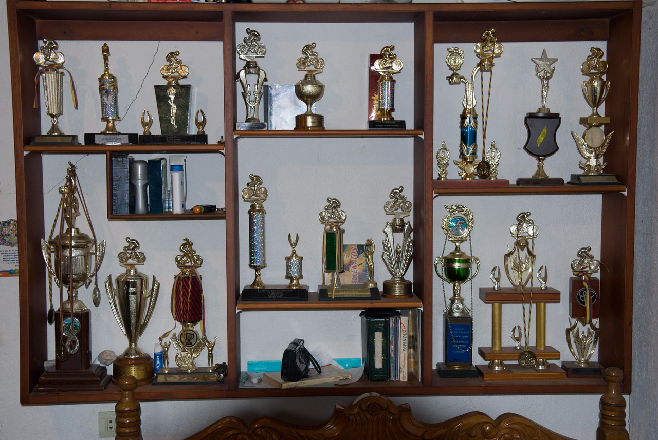 Edgar is a committed cyclist with many trophies.