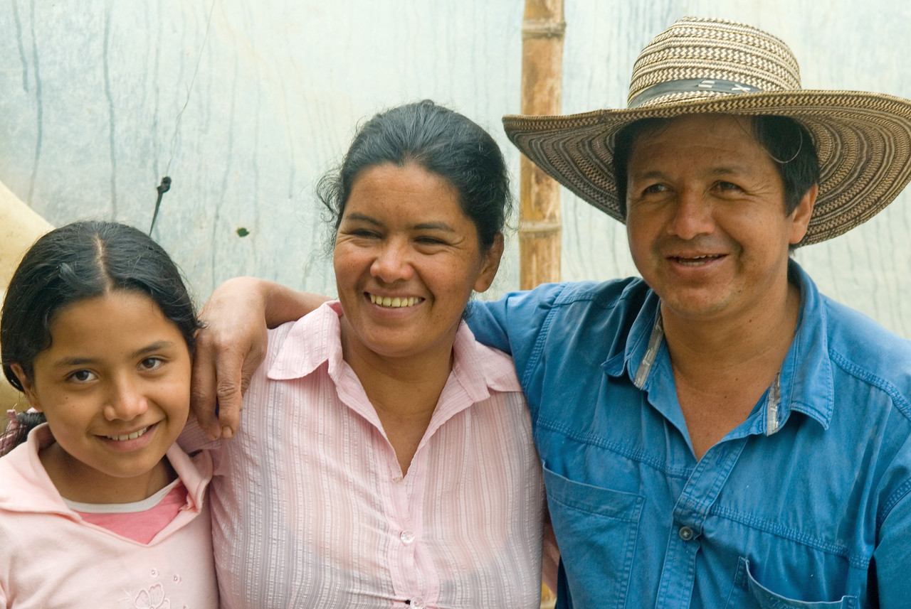 This is Marco Aurelio Ortega, his wife Eri Arteaga and daughter Jeimy Melissa Ortega. <br /> His farm, Villa Flor, has produced the finest lots I have cupped from Narino two years in a row.