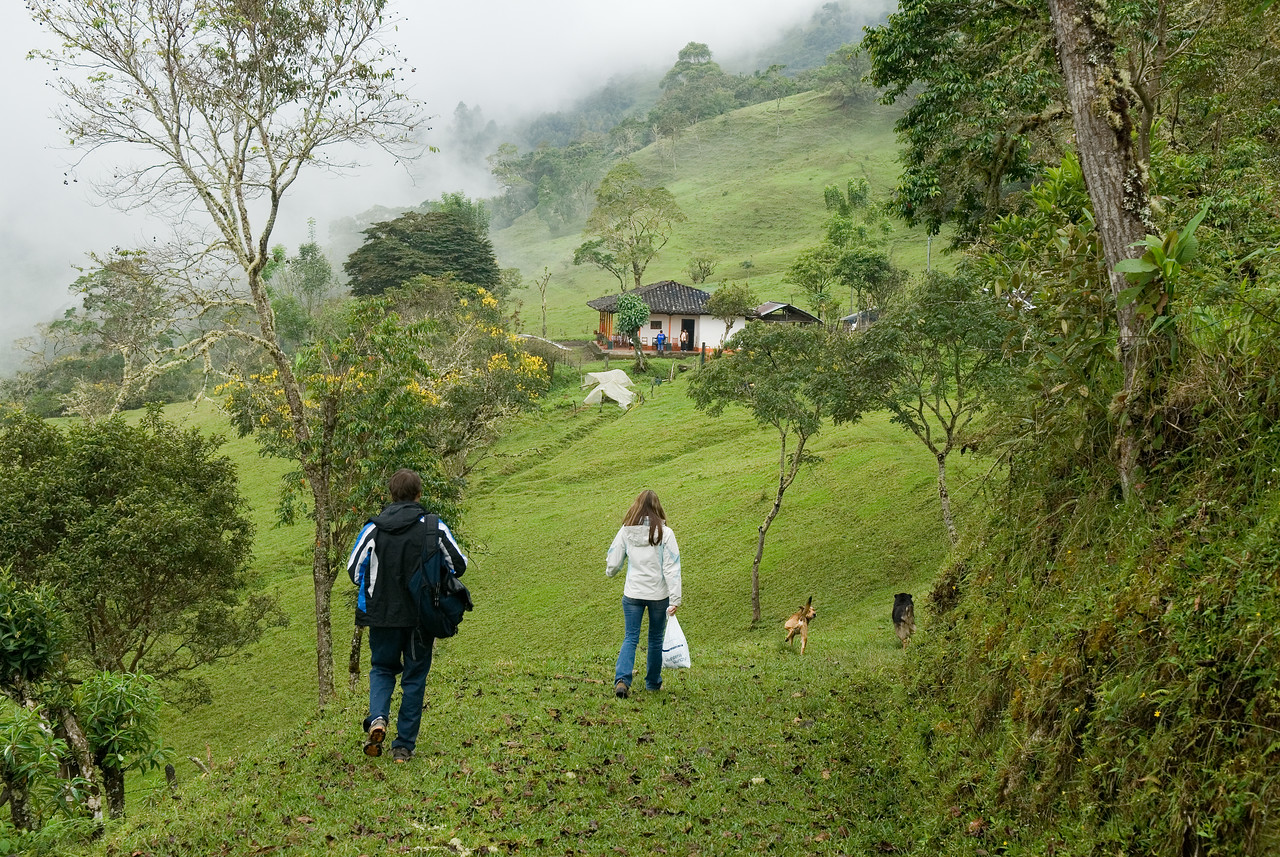 Entering Maria Santos' farm on my last visit in 2008.  That's my daughter, Jennifer, Terroir Coffee's quality control officer, in the white jacket.