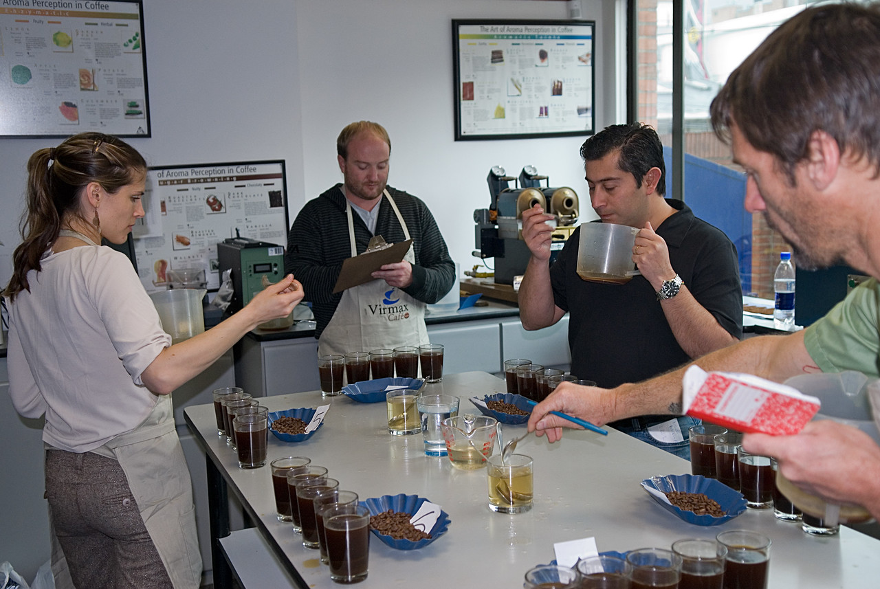 One of many cupping sessions at the Virmax office in Bogota.  My daughter, who is our conpamy quality control officer, Jennifer, accompanied me for the first time.  She is cupping here along with, left to right, Aleco Chigounis of Stumptown, Giancarlo Ghiretti of Virmax and Tom Owen of Sweet Marias.
