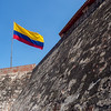 Colombian flag flying over the fort in Cartagena.