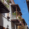 Balconies in the colonial walled city of Cartagena.