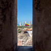 Looking back to the hi-rise section of Cartagena, through a gun slot.