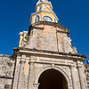 The clock tower in Cartagena.