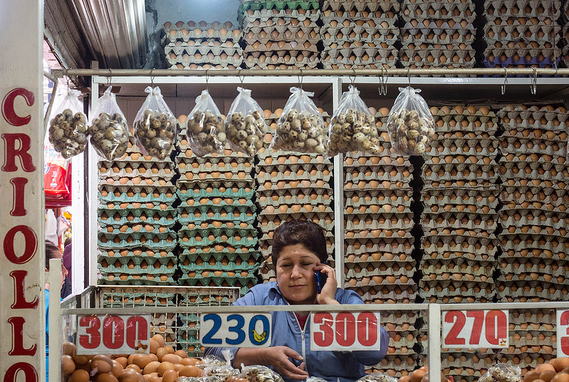 """The """"egg lady"""" in the huge Paloquemao market in Bogata."""